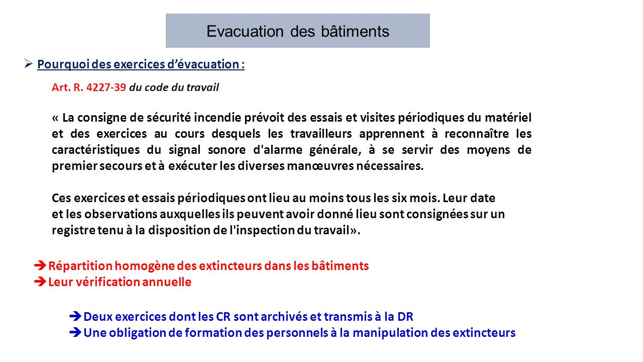 Evacuation Des Batiments Pourquoi Des Exercices D Evacuation Art R Du Code Du Travail La Consigne De Securite Incendie Prevoit Des Essais Ppt Telecharger