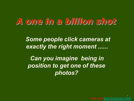 A one in a billion shot A AA A one in a billion shot Some people click cameras at exactly the right moment...... Can you imagine being in position to.