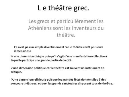 Dissertation le theatre est un divertissement