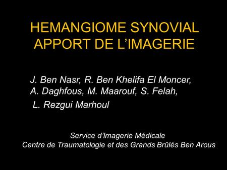 HEMANGIOME SYNOVIAL APPORT DE L'IMAGERIE