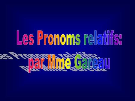 "1. THE RELATIVE PRONOUN ""QUI"". The relative pronoun qui is a subject pronoun. It may refer to people or things, and corresponds to the English pronouns."