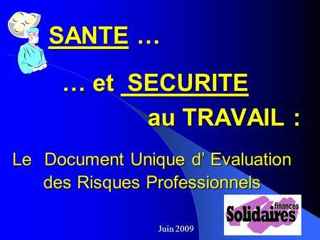 Evaluation Des Risques Professionnels Document Unique Ppt