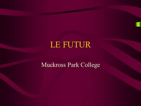 LE FUTUR Muckross Park College WHAT DOES IT MEAN? It means how to translate « will » or « won't »
