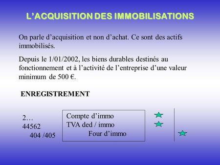 L'ACQUISITION DES IMMOBILISATIONS