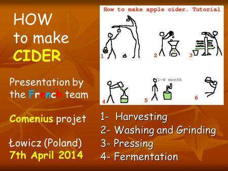 1- Harvesting 2- Washing and Grinding 3- Pressing 4- Fermentation HOW to make CIDER Presentation by the French team Comenius projet Łowicz (Poland) 7th.