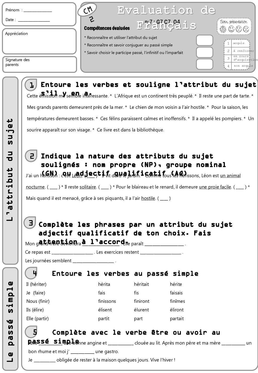 Evaluation De Francais Ppt Telecharger