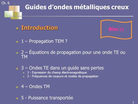 1 1 Ch. 6 Guides dondes métalliques creux Introduction Introduction 1 – Propagation TEM ? 2 – Équations de propagation pour une onde TE ou TM 3 – Ondes.