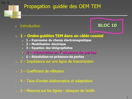 1 Ch. 5 Propagation guidée des OEM TEM Introduction Introduction 1 – Ondes guidées TEM dans un câble coaxial 1 – Expression du champ électromagnétique.