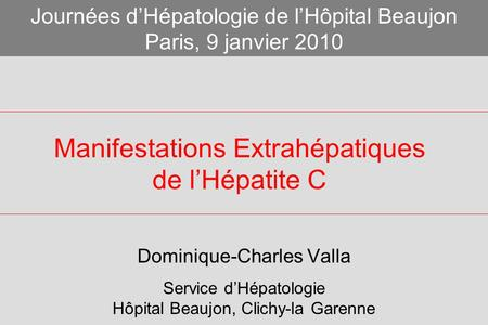 Manifestations Extrahépatiques de l'Hépatite C