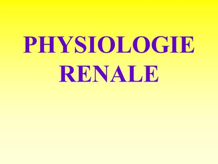 PHYSIOLOGIE RENALE.