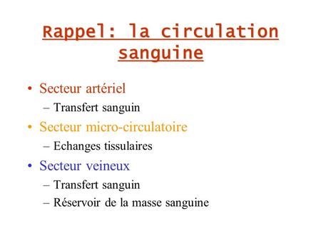 Rappel: la circulation sanguine