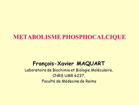 METABOLISME PHOSPHOCALCIQUE
