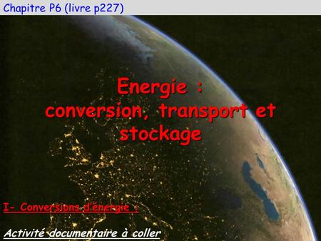 conversion, transport et stockage