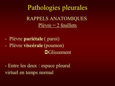 Pathologies pleurales