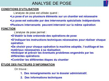 ANALYSE DE POSE CONDITIONS D'UTILISATION