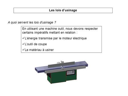 Les lois d'usinage A quoi servent les lois d'usinage ?