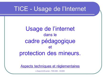 TICE - Usage de l'Internet