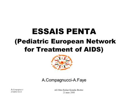 A. Compagnucci INSERM SC10 AG Mère-Enfant.Kremlin Bicêtre 21 mars 2008 ESSAIS PENTA (Pediatric European Network for Treatment of AIDS) A.Compagnucci-A.Faye.