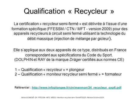 Qualification « Recycleur »
