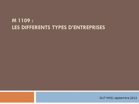 M 1109 : LES DIFFERENTS TYPES D'ENTREPRISES