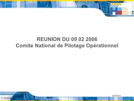 REUNION DU Comite National de Pilotage Opérationnel