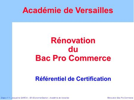 Rénovation du Bac Pro Commerce