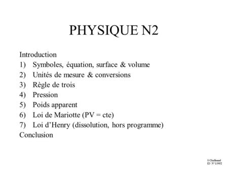 PHYSIQUE N2 Introduction Symboles, équation, surface & volume