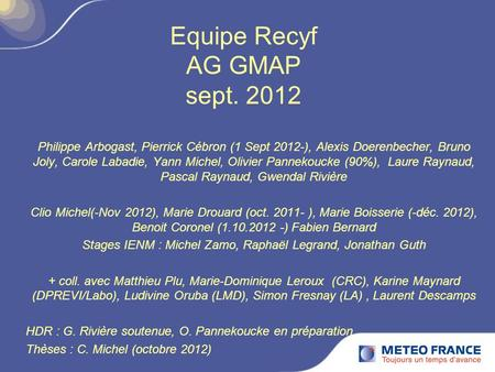 Equipe Recyf AG GMAP sept. 2012