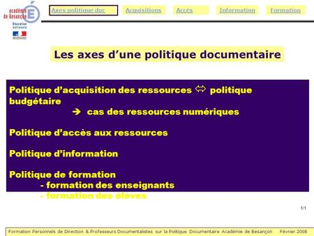 Formation Personnels de Direction & Professeurs Documentalistes sur la Politique Documentaire Académie de Besançon Février 2008 AccèsInformationAcquisitionsAxes.