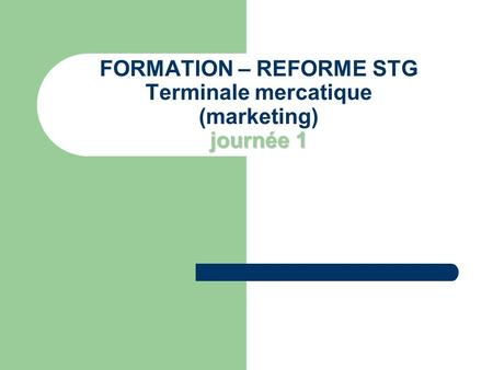 Journée 1 FORMATION – REFORME STG Terminale mercatique (marketing) journée 1.