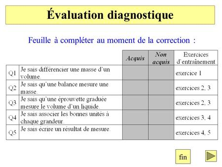 Évaluation diagnostique