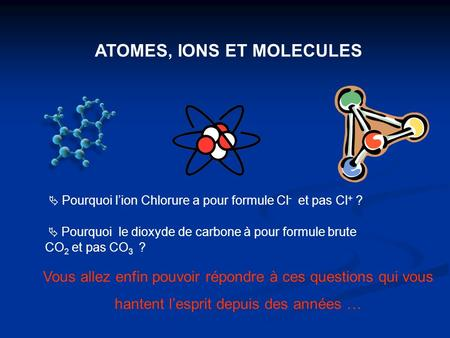 ATOMES, IONS ET MOLECULES