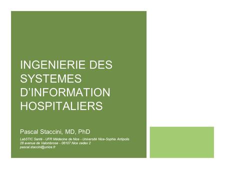 INGENIERIE DES SYSTEMES D'INFORMATION HOSPITALIERS