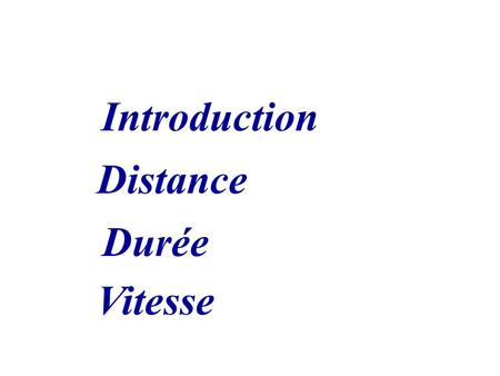 Introduction Distance Durée Vitesse.