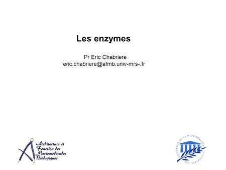 Les enzymes Pr Eric Chabriere eric.chabriere@afmb.univ-mrs-.fr.