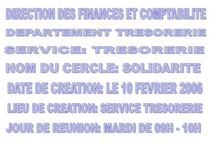 DIRECTION DES FINANCES ET COMPTABILITE