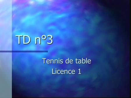 Tennis de table Licence 1