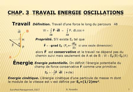 Chap. 3 Travail Energie Oscillations