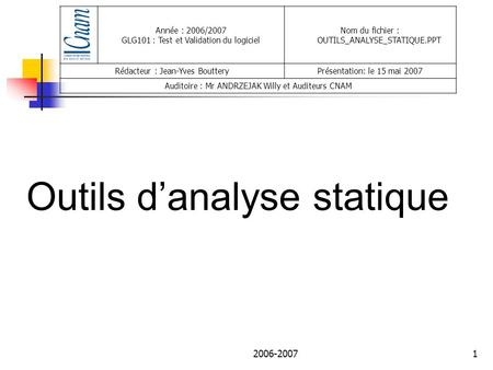 Outils d'analyse statique