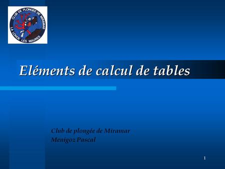 Eléments de calcul de tables