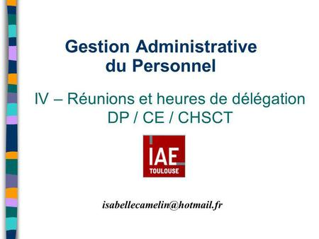 Gestion Administrative du Personnel