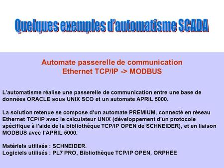 Automate passerelle de communication Ethernet TCP/IP -> MODBUS