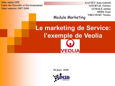 Le marketing de Service: l'exemple de Veolia