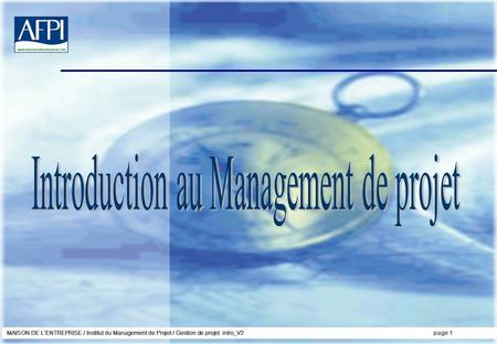 Introduction au Management de projet