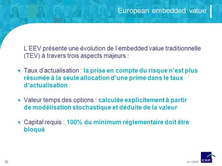 33 European embedded value Avril 2006 LEEV présente une évolution de lembedded value traditionnelle (TEV) à travers trois aspects majeurs : Taux dactualisation.