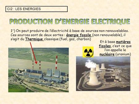 PRODUCTION D'ENERGIE ELECTRIQUE