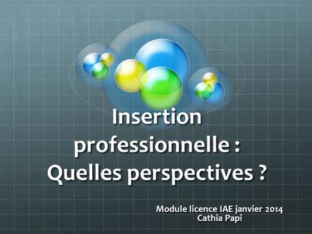 Insertion professionnelle : Quelles perspectives ? Module licence IAE janvier 2014 Cathia Papi.