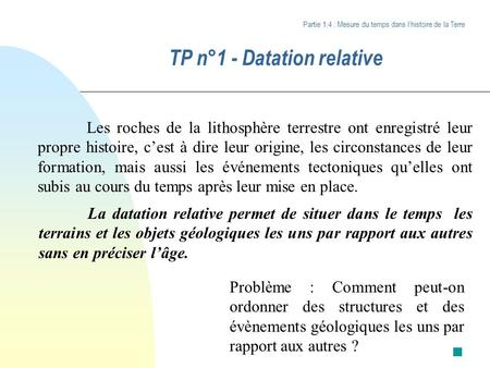 TP n°1 - Datation relative