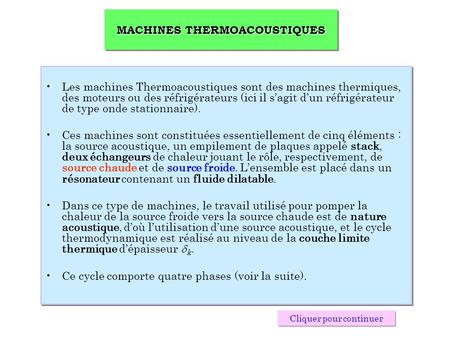 MACHINES THERMOACOUSTIQUES