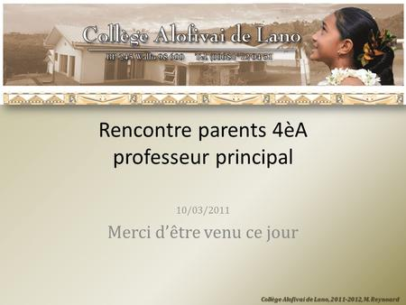 Rencontre parents 4èA professeur principal